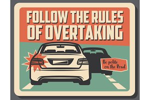 Caution of overtaking on road