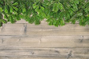 Christmas tree branches rustic woode