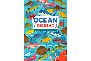 Ocean fishing sport, fish, octopus