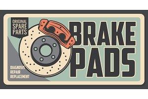 Spare brake pads diagnostics