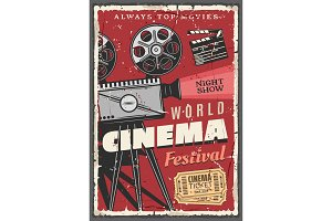 Cinema festival retro poster