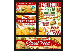Street fast food dishes banners