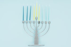 top view of menorah and candles on b