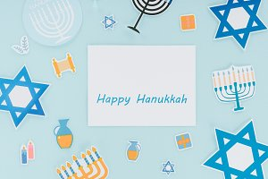 flat lay with hannukah holiday paper