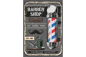 Razor and barber shop pole