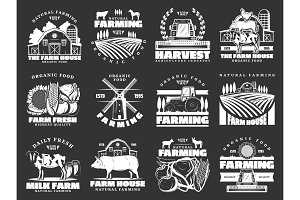 Farming, cattle farm vector icons