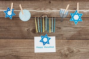 top view of happy hannukah card, can