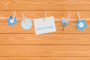 top view of happy hannukah card and