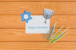flat lay with happy hannukah card, c