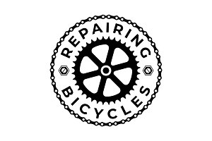 Repairing & Bicycle Logo Template
