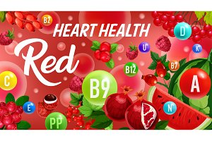 Vitamin from red fruits, color diet