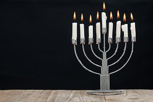 close up view of jewish menorah with