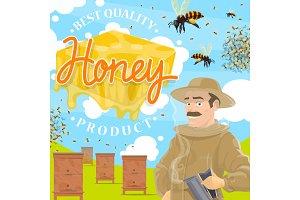 Beekeeping farm, beekeeper at apiary