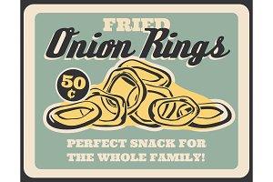 Fried crispy onion rings, vector