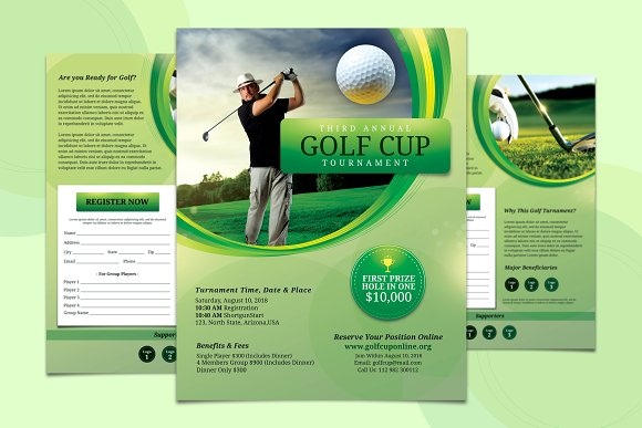 2 Pages Golf Flyer Template Flyer Templates Creative Market