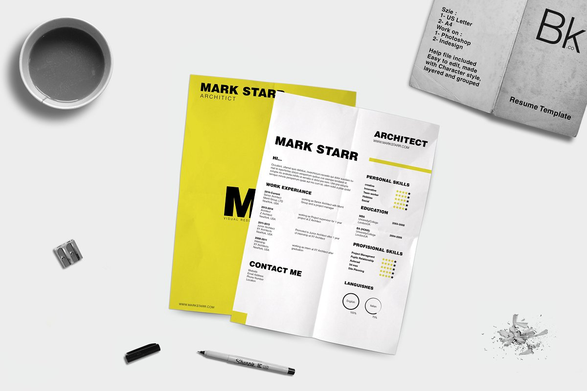 b092393e6 Visual Resume - Forge ~ Resume Templates ~ Creative Market