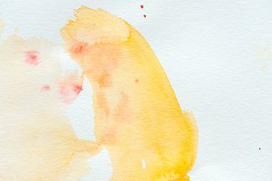 abstract yellow watercolor stroke on