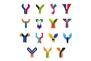 Letter Y abstract business icons