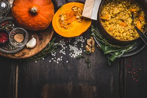 Pumpkin risotto with ingredients