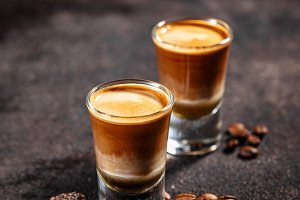 Shot cocktail with the taste of coff