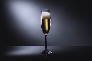 close up view of glass of champagne