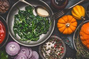 Vegetarian cooking with pumpkin
