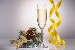 close up view of glass of champagne,