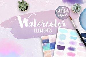 Watercolor Strokes Clipart Bundle