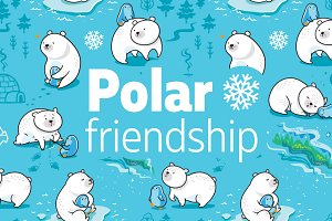 Polar friendship illustrations