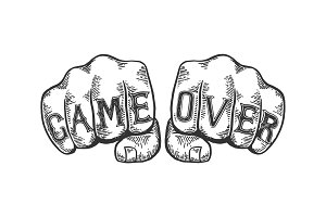 Game over words fist tattoo vector