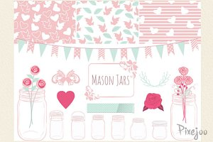 Mason Jar Cliparts Scrapbook