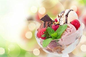 Bowl with ice cream
