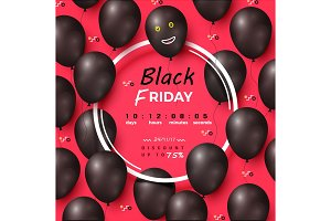 Black Friday Discount Poster Vector