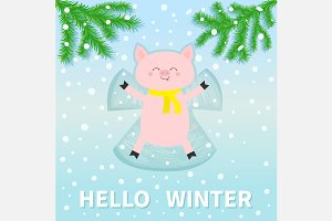 Hello winter. Pig making snow angel