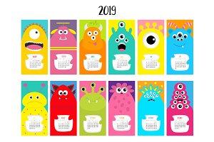 Monster vertical monthly calendar 20