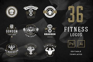 Retro Fitness & Gym Logos Set