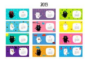 Cat horizontal monthly calendar 2019