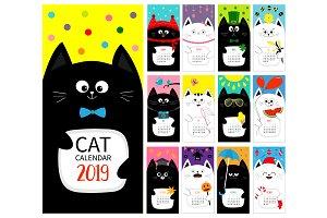 Cat monthly vertical calendar 2019