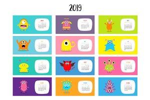 Monster monthly calendar 2019.