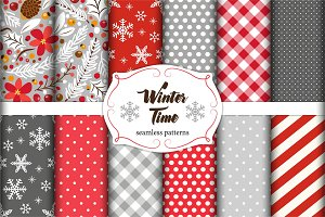 Cute set of winter holidays seamless