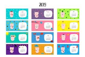 Pig horizontal monthly calendar 2019