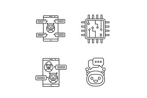 Chatbots linear icons set