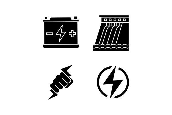 Electric energy glyph icons set