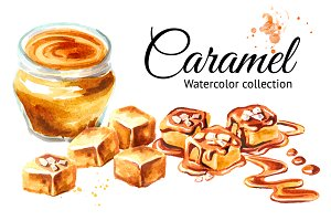 Caramel. Watercolor collection