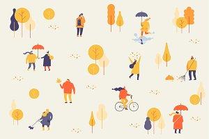 Autumn People Vector Set