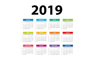 vector Calendar 2019. Colorful. Week