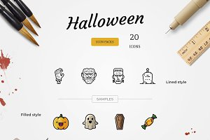20 Halloween Icons - Lined + Filled