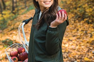 attractive young woman with apple st