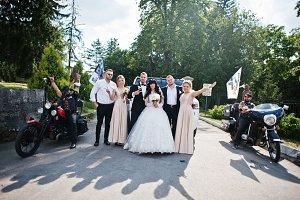 Wedding couple with groomsmans and b