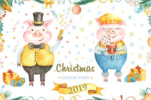 Christmas collection 2019.Watercolor